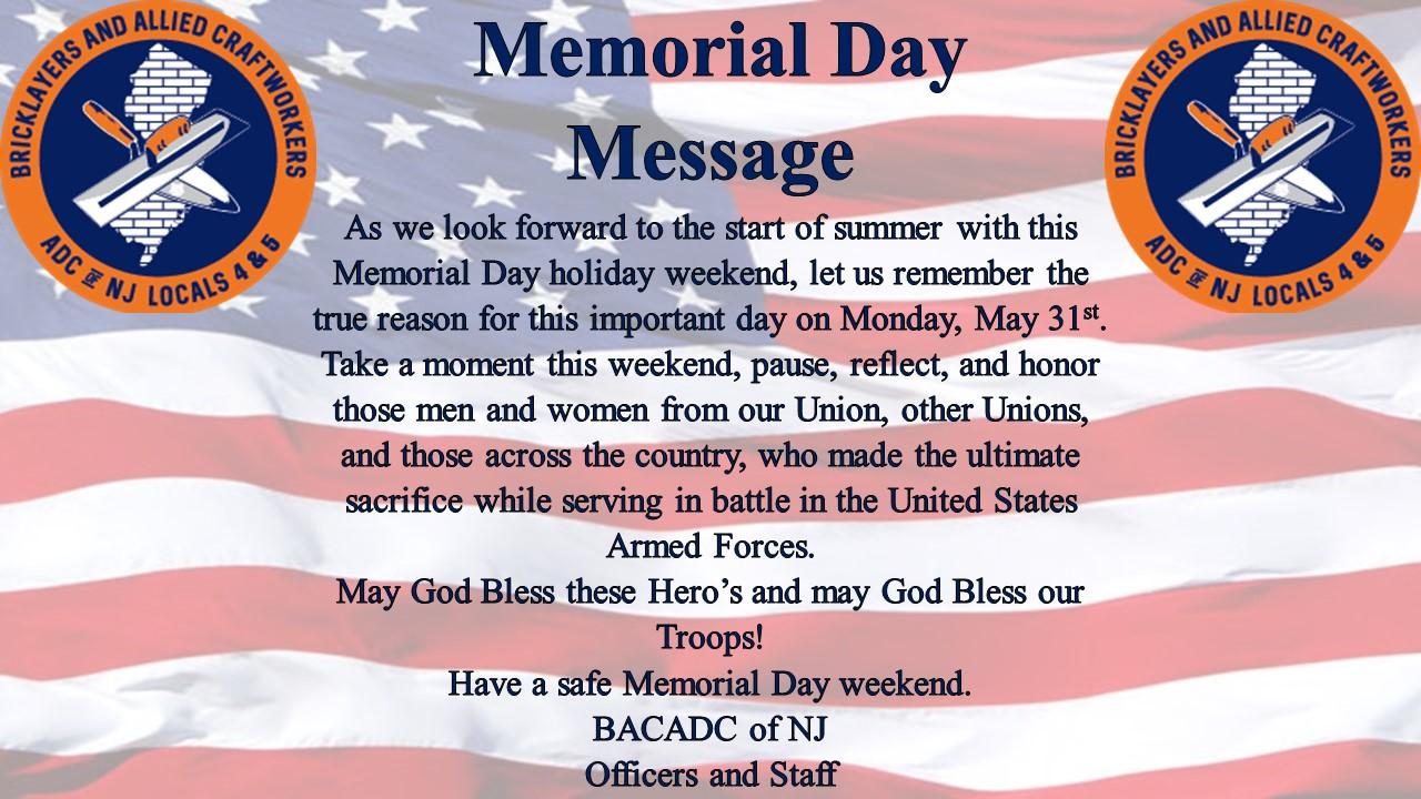 A Memorial Day Message